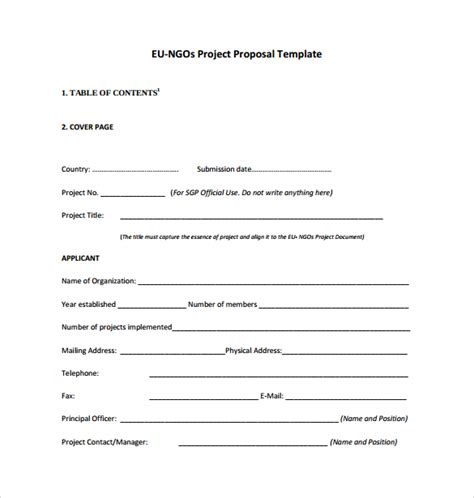 proposal format sle for ngo sle project proposal template 17 free documents in