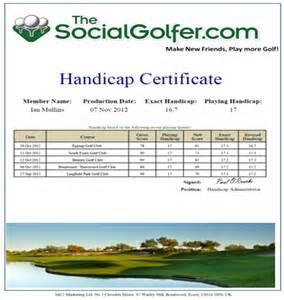 golf handicap certificate images
