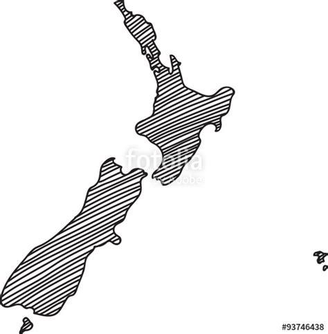 doodlebug nz quot doodle freehand outline sketch of new zealand map vector