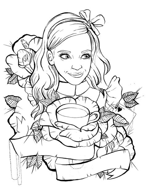 hot tattoo outlines alice in wonderland tattoo design outline by ziuuziuu on
