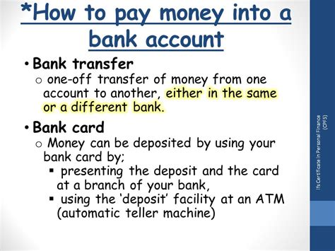 transfer of funds from one bank to another topic 4 understand different types of bank account ppt