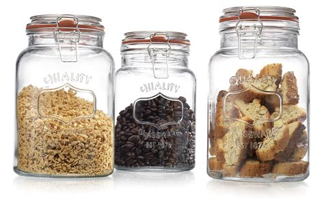 Glass Kitchen Canisters Airtight Glass Canister Quality Set Of 3 Clear Jar With