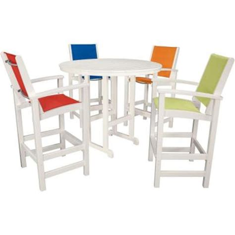 Hanover Nassau 5 Piece All Weather Patio Bar Set with 4