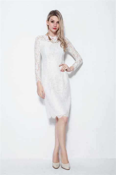 modest sleeved knee length white dresses  full lace
