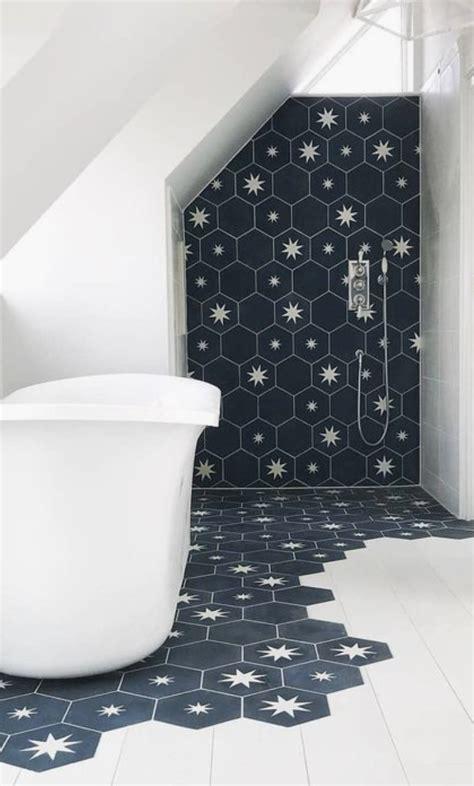 star hexagon bath tiles  shower shower tile ideas navy blue  white bathroom tile