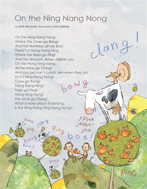 on the ning nang nong poem by spike milligan poem hunter onomatopoeia thud whallop crash blathering about nothing