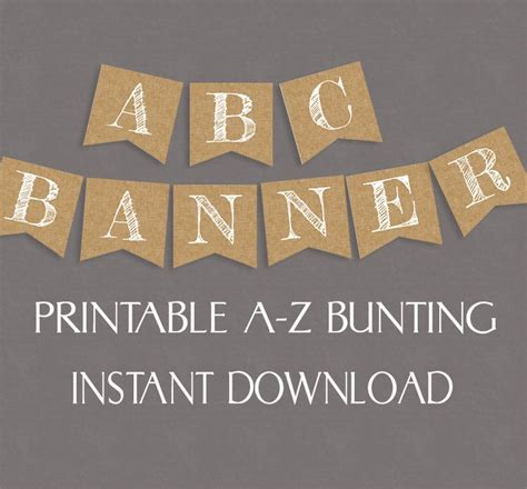 printable letters on bunting rustic banner burlap effect printable alphabet and