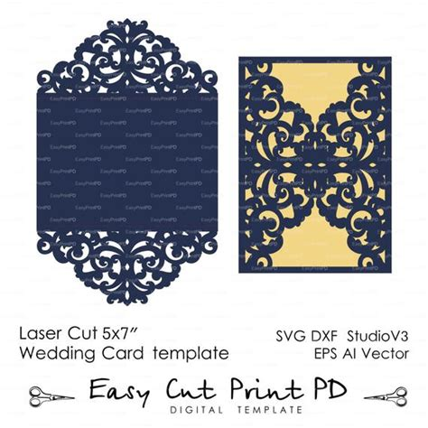 basic card template for silhouette wedding invitation pattern card template lace folds studio