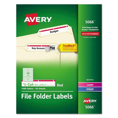 avery permanent file folder labels ave5066 72782050665