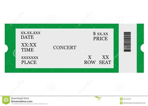 template for concert tickets template concert ticket template