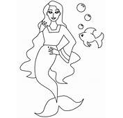 Free Mermaid With Dolphin Coloring Pages