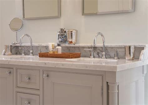 gray bathroom vanity  marble backsplash shelf transitional bathroom