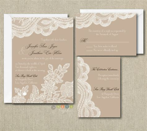 100 personalized custom rustic vintage lace wedding invitations set any color ebay