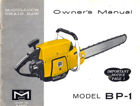 mcculloch bp 1 chain saw owners amp operators manual