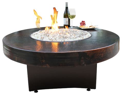 oriflamme gas pit table hammered copper rustic