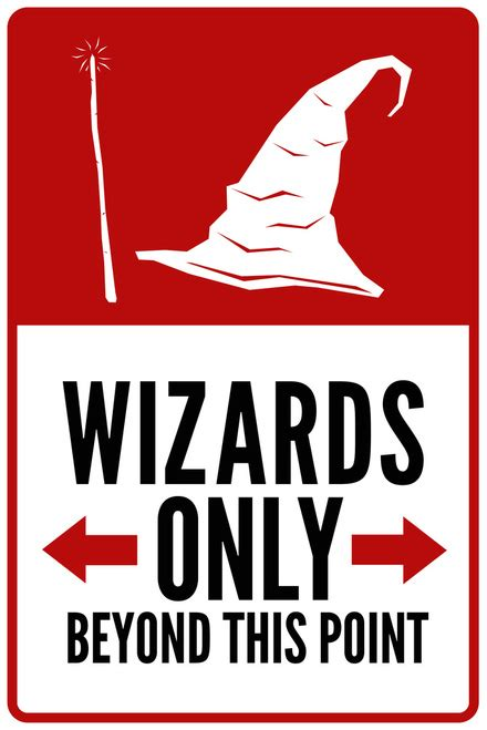 Wall Murals Stencils warning sign warning sign wizards only beyond this point