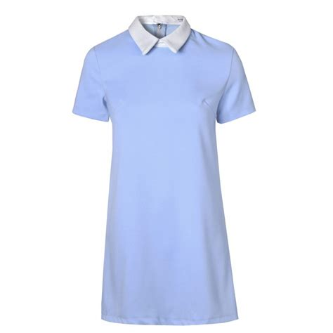 Light Blue Shift Dress by Buy Glamorous Shift Dress With White Pointed Collar Light Blue
