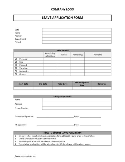 free templates form leave application form