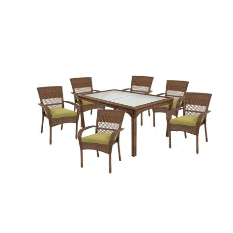 Martha Stewart Patio Dining Set Martha Stewart Living Charlottetown Brown 7 All Weather Wicker Patio Dining Set With Green
