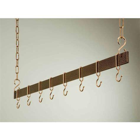 Hanging Pot Rack Hooks Pot Racks 54 Hanging Bar Pot Rack With Hammered Copper
