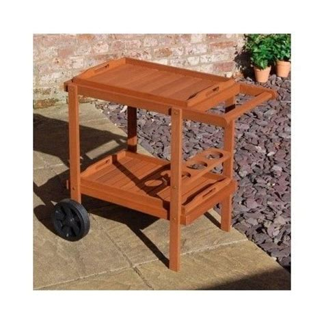 Outdoor Drinks Bar Trolley Garden Party Table Wooden Patio Patio Serving Table