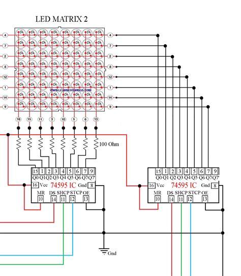 Pcb Matrix Lobang Ic circuit between 74595 and arduino mega to 16 8 led matrix part 3 of 13 171 electronics
