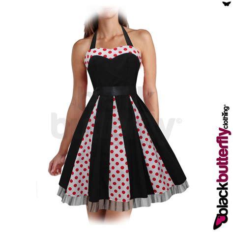 rockabilly swing dress pattern new black polkadot rockabilly 1950 s 1960 s vintage swing