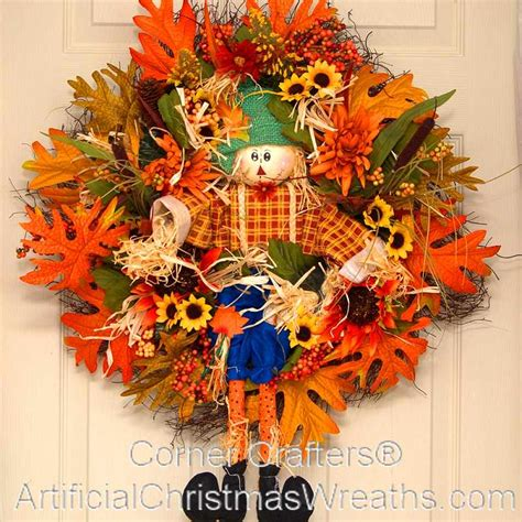scarecrow decorations fall hello fall scarecrow wreath artificialchristmaswreaths
