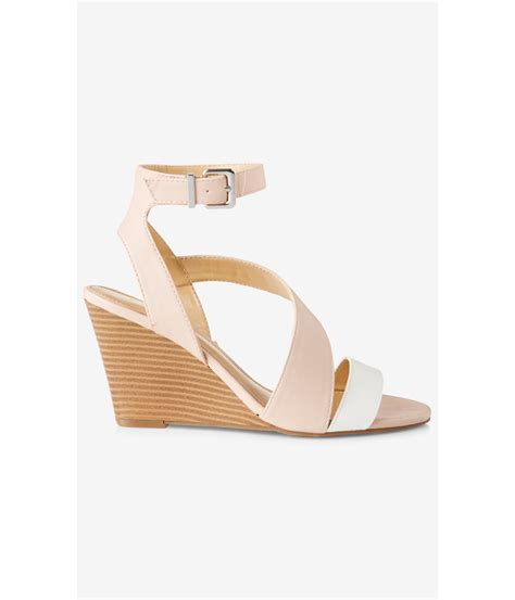 express sandals lyst express color block asymmetrical low wedge sandal
