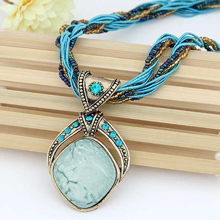 Kkst 214 Kalung Korea Statement Necklace vintage bohemian imitation gemstone jewelry handmade chain necklaces pendants