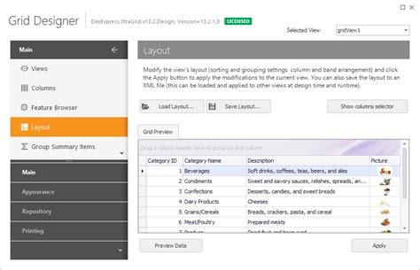 layout xml custom view layout page data grid winforms controls devexpress help