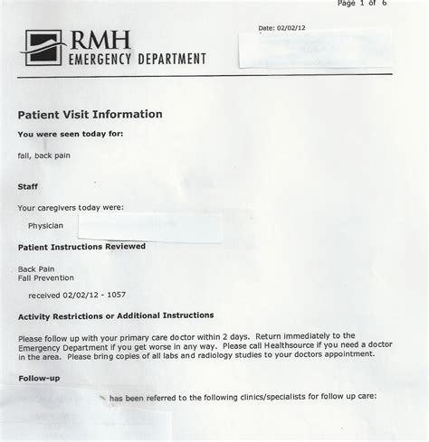 Er Discharge Paperswritings And Papers Writings And Papers Emergency Room Discharge Papers Template