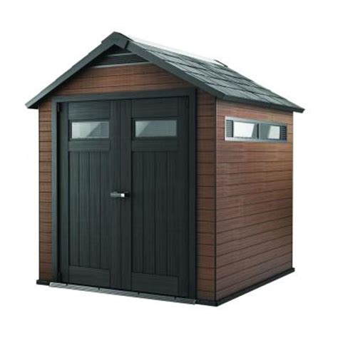 keter fusion 7 5 ft x 7 ft wood and plastic composite