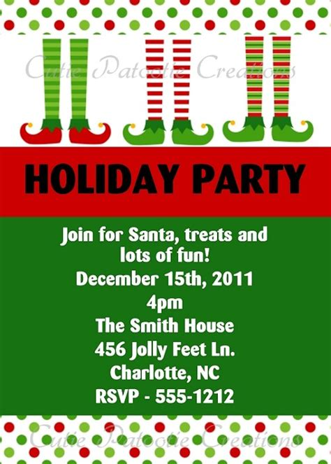 free printable elf invitation elf feet christmas holiday party invitation printable or