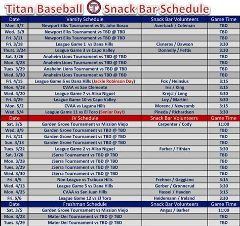 baseball calendar template baseball snack schedule template for free tidyform