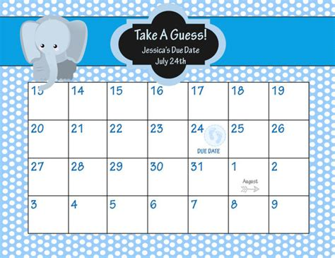 Baby Due Date Calendar Animal Baby Shower Due Date Calendar Elepahnt Baby Shower