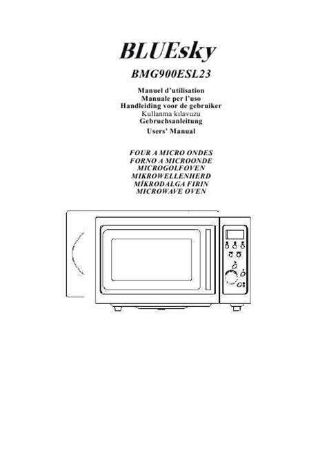 Microwave Bluesky user s guide bluesky bmg900esl23 microwave oven