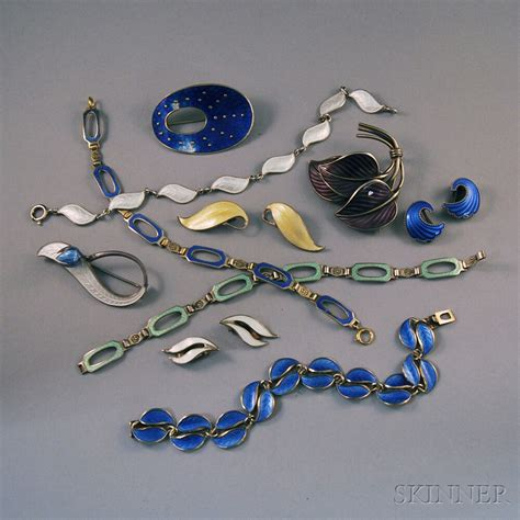 enamel jewelry small collection of sterling silver and