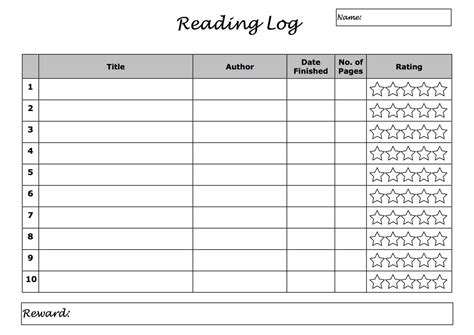 search results for printable reading log summary