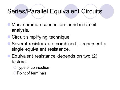 equivalent resistance in parallel and series circuits basic electrical circuit 1 ppt