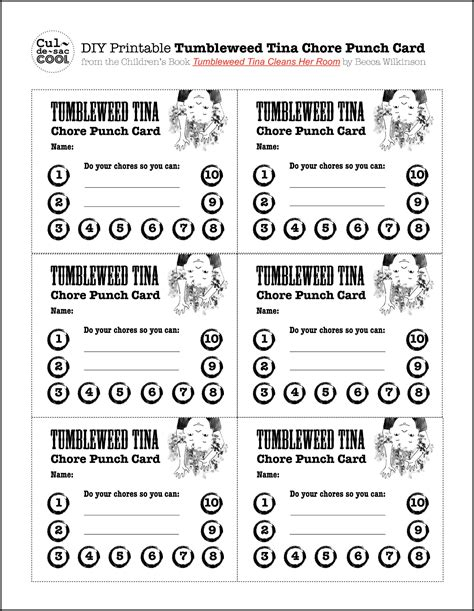 punch card template for stuff diy printable tumbleweed tina chore punch card