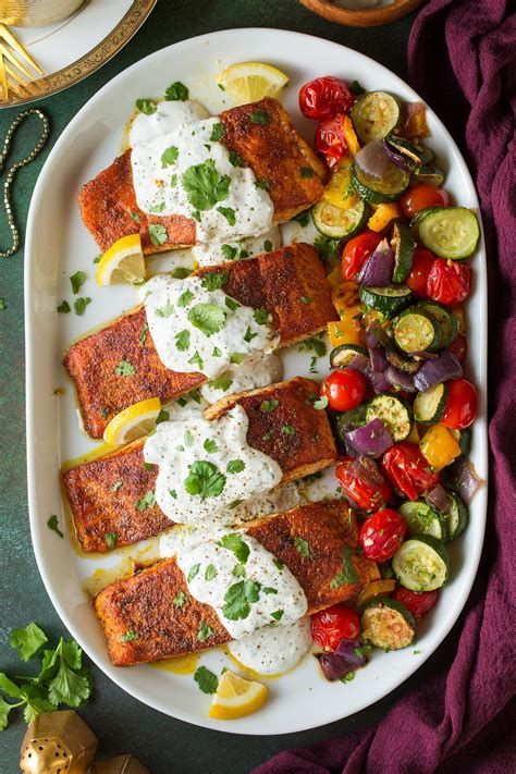 moroccan spiced salmon  lemon yogurt sauce cooking