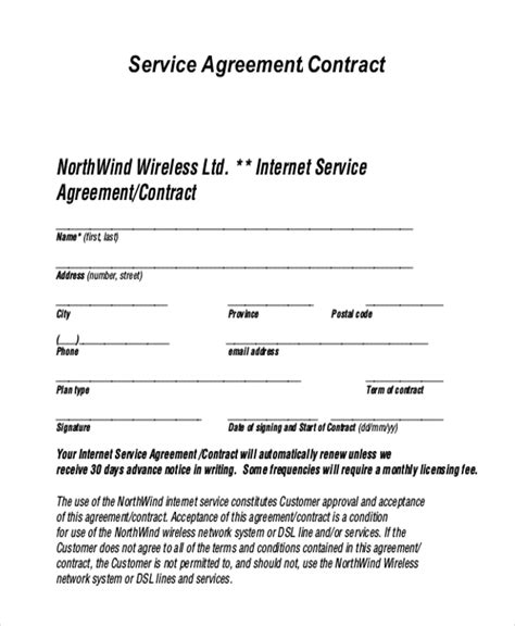 Sle Service Agreement Form 9 Free Documents In Pdf Service Contract Template