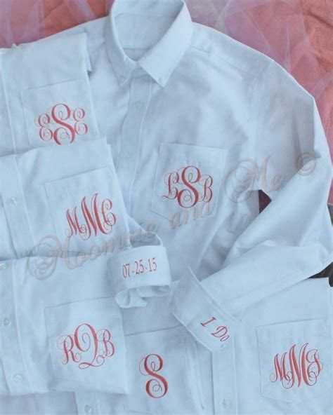 Wedding Hair Accessories Oxford by Monogram Shirt Set Of 6 Personalized Oxford