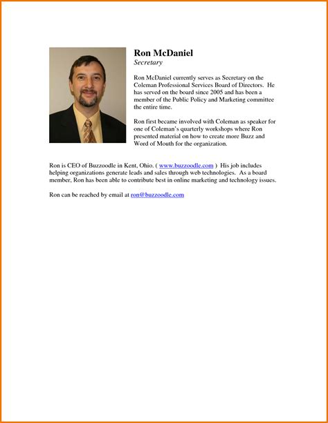 brief biography format professional bio template cyberuse