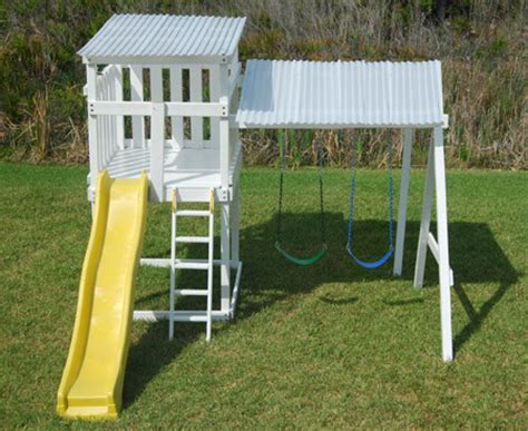 Small Backyard Swing Set by Metroplay The Modern Pre Fab Playhouse And Swingset