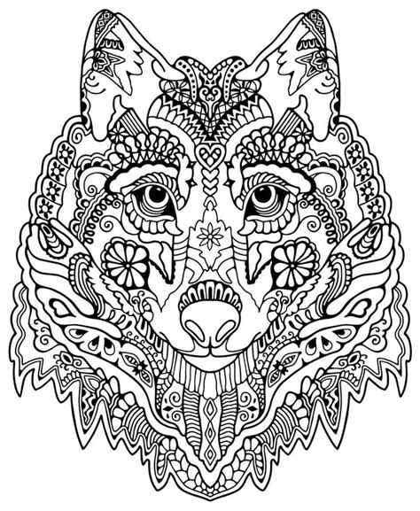 Abstract Wolf Coloring Pages | wolf abstract doodle zentangle coloring pages colouring