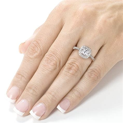Forever Brilliant Cushion-cut Moissanite and Halo Diamond ... 1 Carat Cushion Cut Halo Engagement Ring