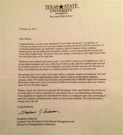 Acceptance Letter Of Houston Personal Achievements Learn Work Succeed