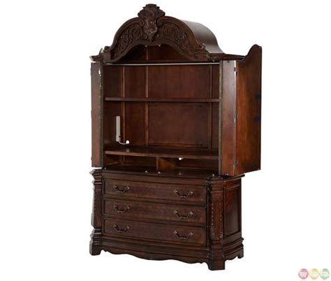aico armoire michael amini windsor court vintage fruitwood finish